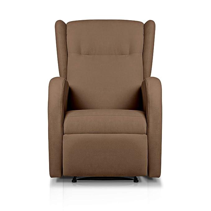 Sueños ZZZ | Sillon relax reclinable HOME tapizado tela antimanchas marron | Sillon reclinable butaca relax | Sillon orejero individual salon | Butaca ...
