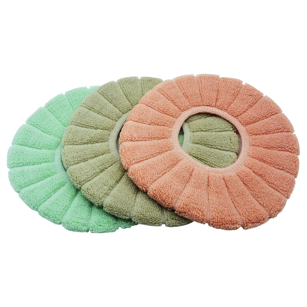 Trifetcrow Bathroom Toilet Seat Cushion 3PCS(Green,Orange,Grey) Soft Warm Cloth Toilet Seat Cover Knitted Cushion,Fabric Washable Stretchable 12