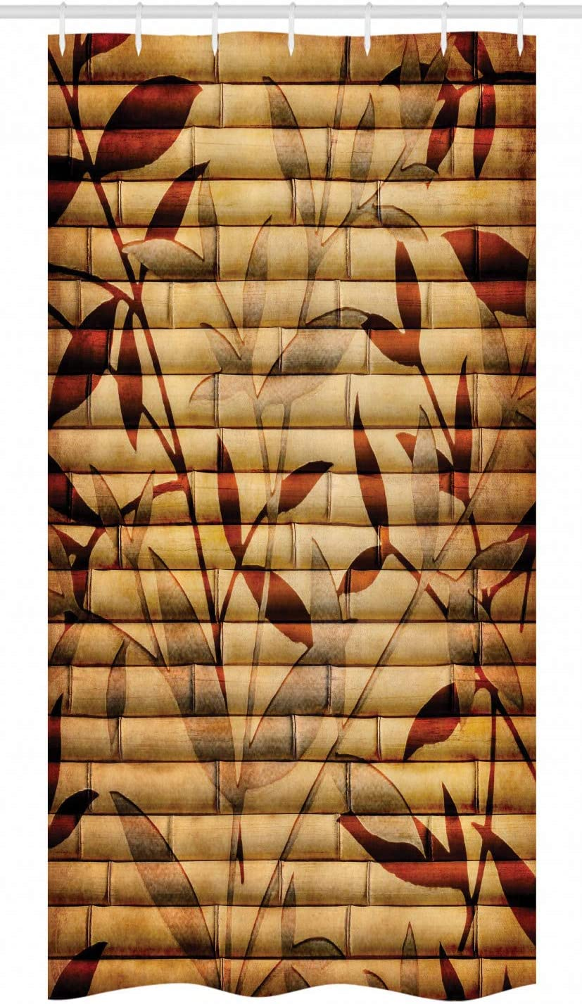 "Ambesonne Beige Stall Shower Curtain, Bamboo Stems Background with Leaves and Stems Pattern Print, Fabric Bathroom Decor Set with Hooks, 36"" X 72"", Beige Pastel"