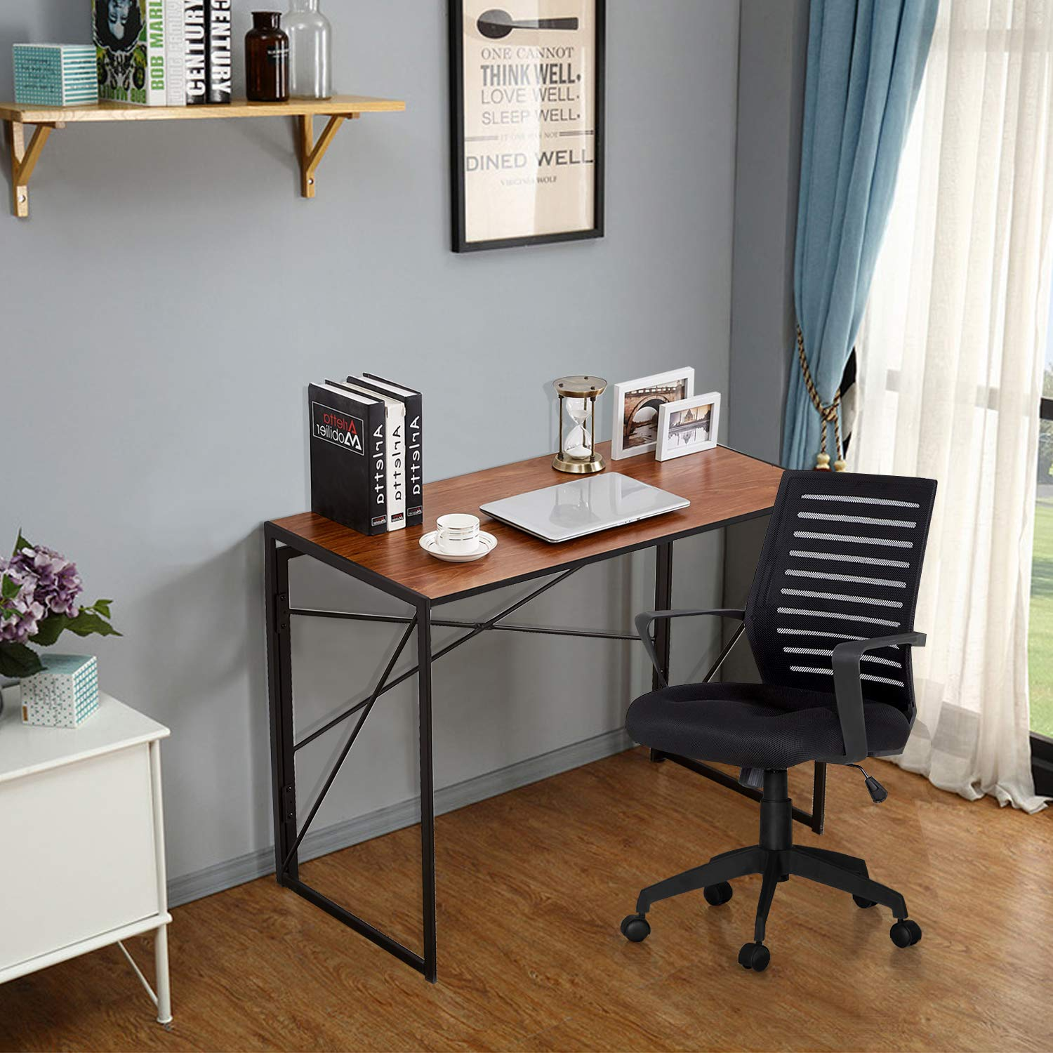 VECELO Writing Computer Folding Desk/Sturdy Steel Laptop Table for Home Office Work by VECELO (Image #4)
