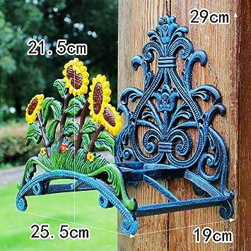 HZB Productos de jardín de hierro fundido de girasol decorativo manguera de pared estante de almacenamiento colgando estilo rústico marco de metal: Amazon.es: Bricolaje y herramientas