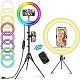 12 tum RGB selfie-ringljus med fjärrkontroll 148 cm stativ och mobiltelefonhållare AILUKI LED ringljus dimbar cirkulärt…