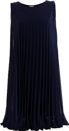 ea33c8cc2cf4b Charleselie94® - Robe Chic plissée Mousseline Bleu Marine Antibes Bleu - 38