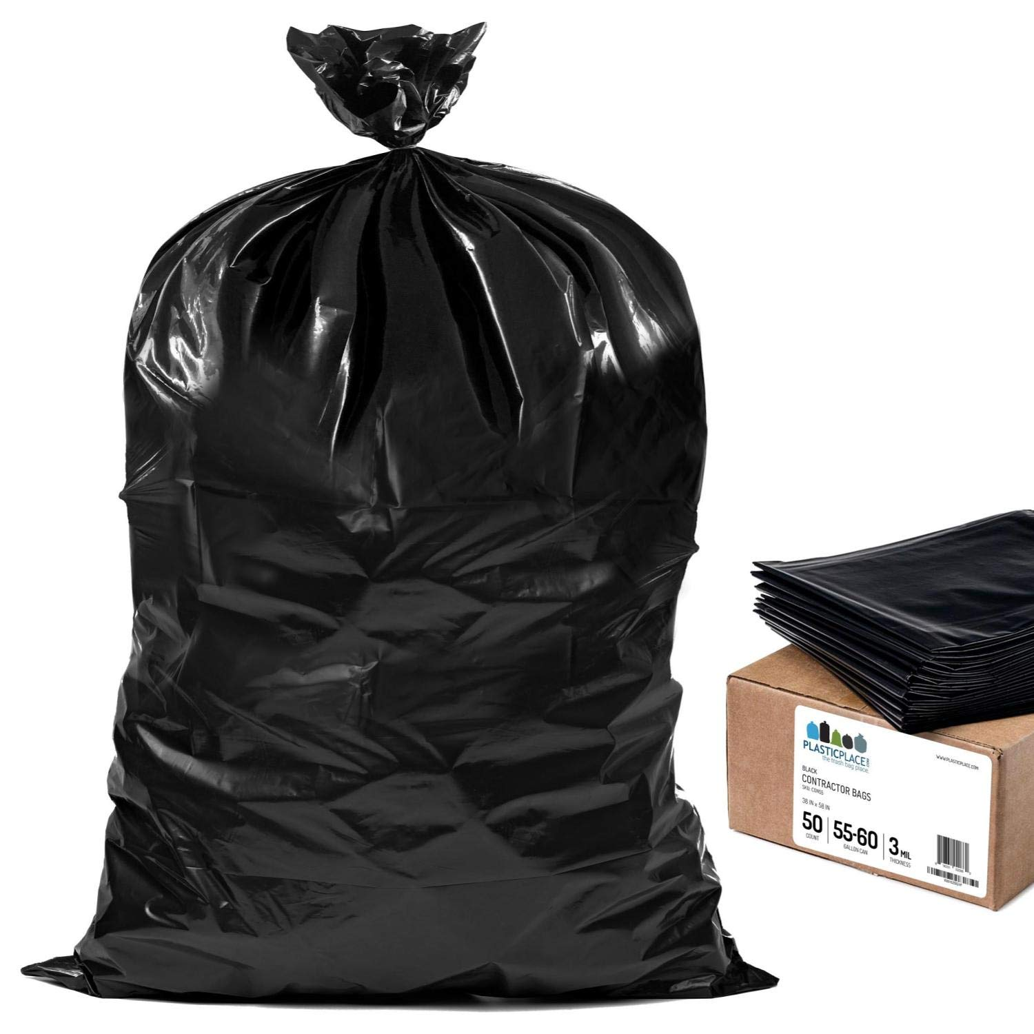 Plasticplace Contractor Trash Bags 55-60 Gallon │ 3.0 Mil │ Black Heavy Duty Garbage Bag │ 38'' x 58'' (50 Count)