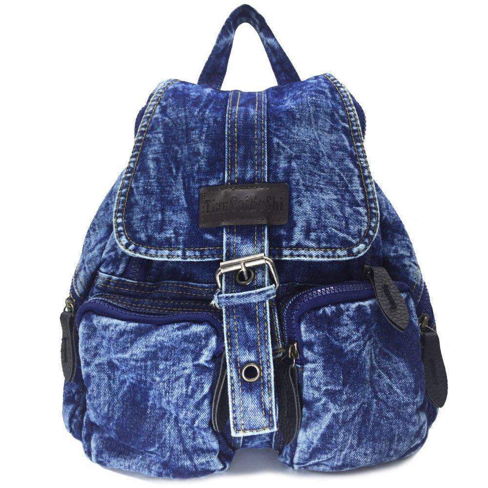 BXI Women Denim Backpack Girls School Backpack Casual Daypack (Pattern Blue)