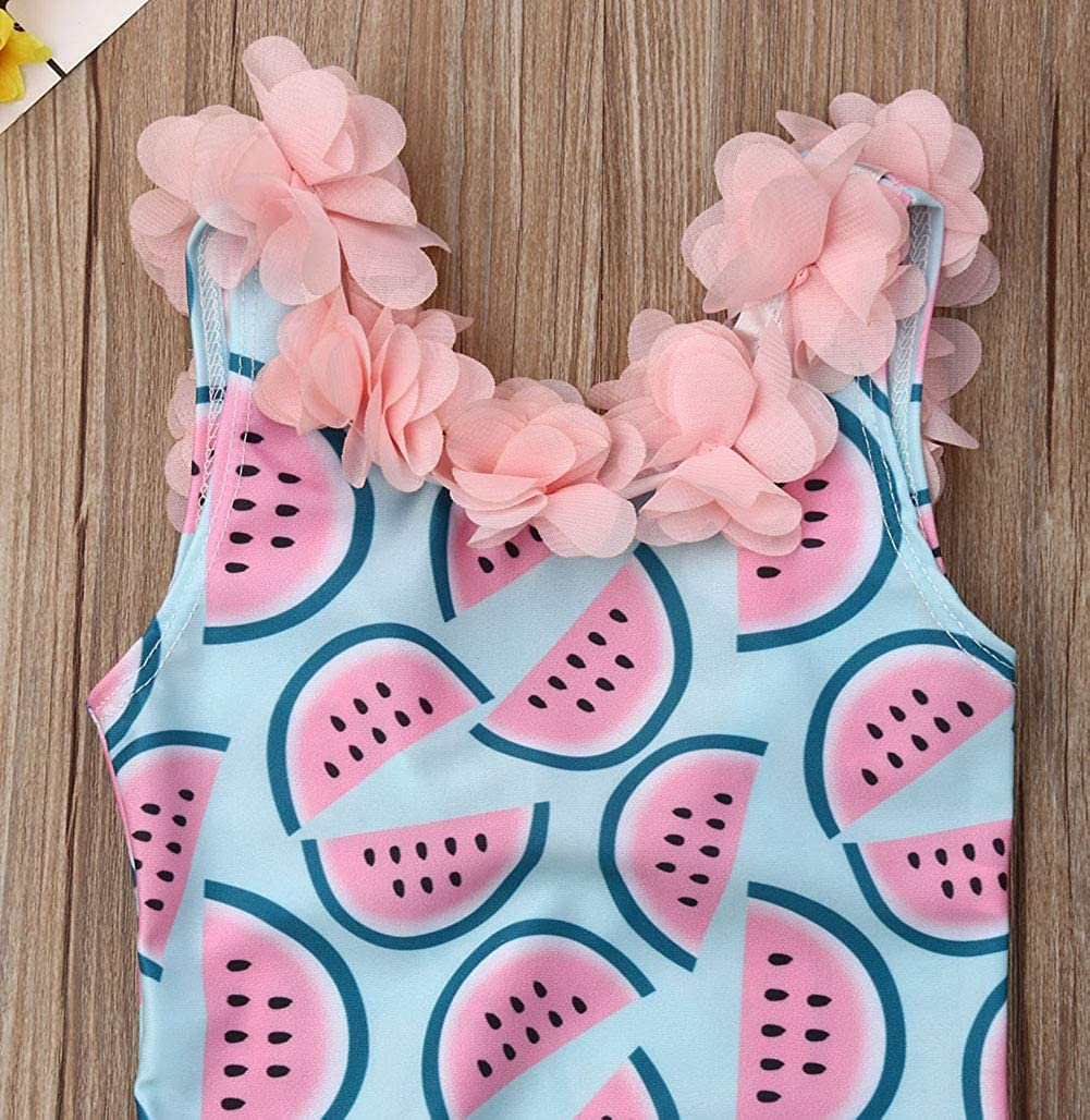 Toddler Baby Girl Swimsuit Watermelon Pattern Pink Floral Neck Backless Kids Bikini Monokini Girls Swimwear 6M-4T