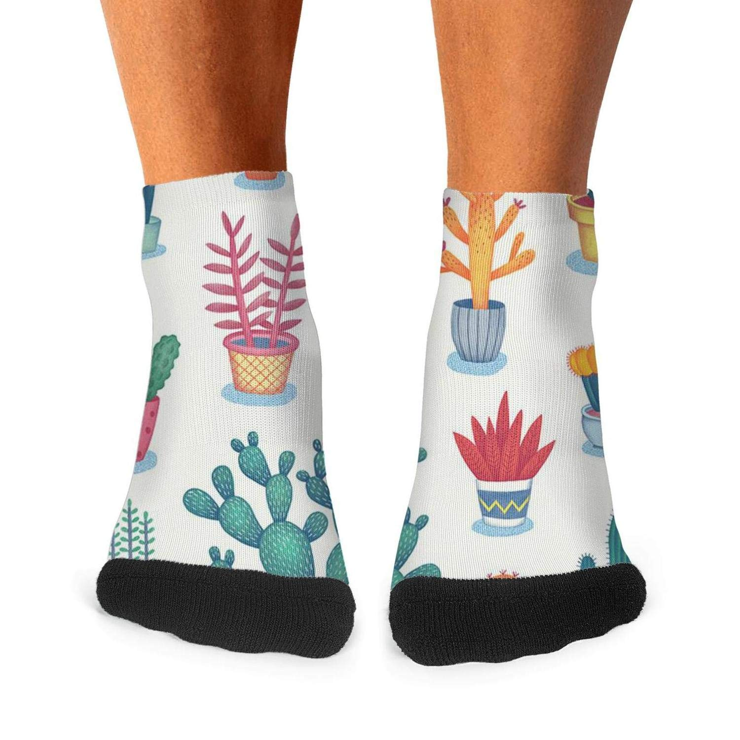 The Clipart Cactus Patterns mens socks casual breathability compression socks cute short socks Unisex