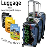 Collection 138, Personnalisé 360 degree 4 Roues Valise de Voyage Rigide Luggage Bagage Hard Case Cover Luggage Trolley Travel Bag