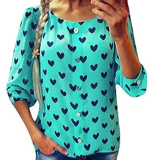 Unko Women's Chiffon Casual Long Sleeve Blouse Shirt Green L