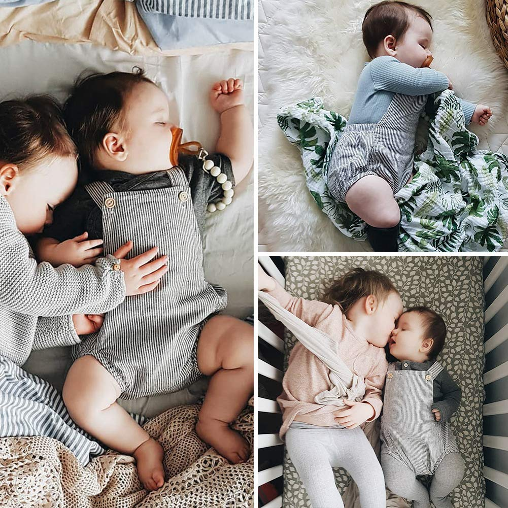Simplee Kids Baby Onesies Unisex Organic Cotton Linen Rompers Solid Color Sleeveless Summer Pajamas Bodysuits 0-36 Month