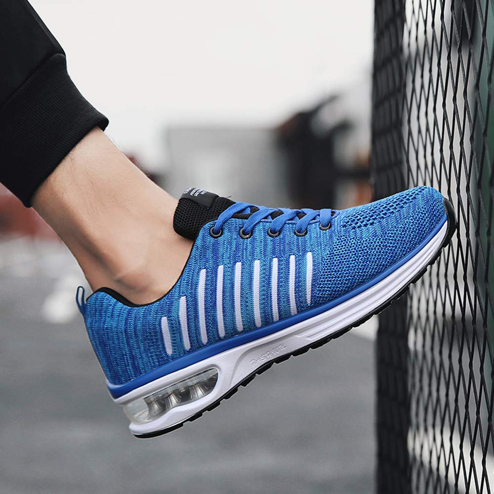 Casual Mens Sport Shoes Air Cushion Shock Absorption Mesh Lace-up Non-Slip Sneakers