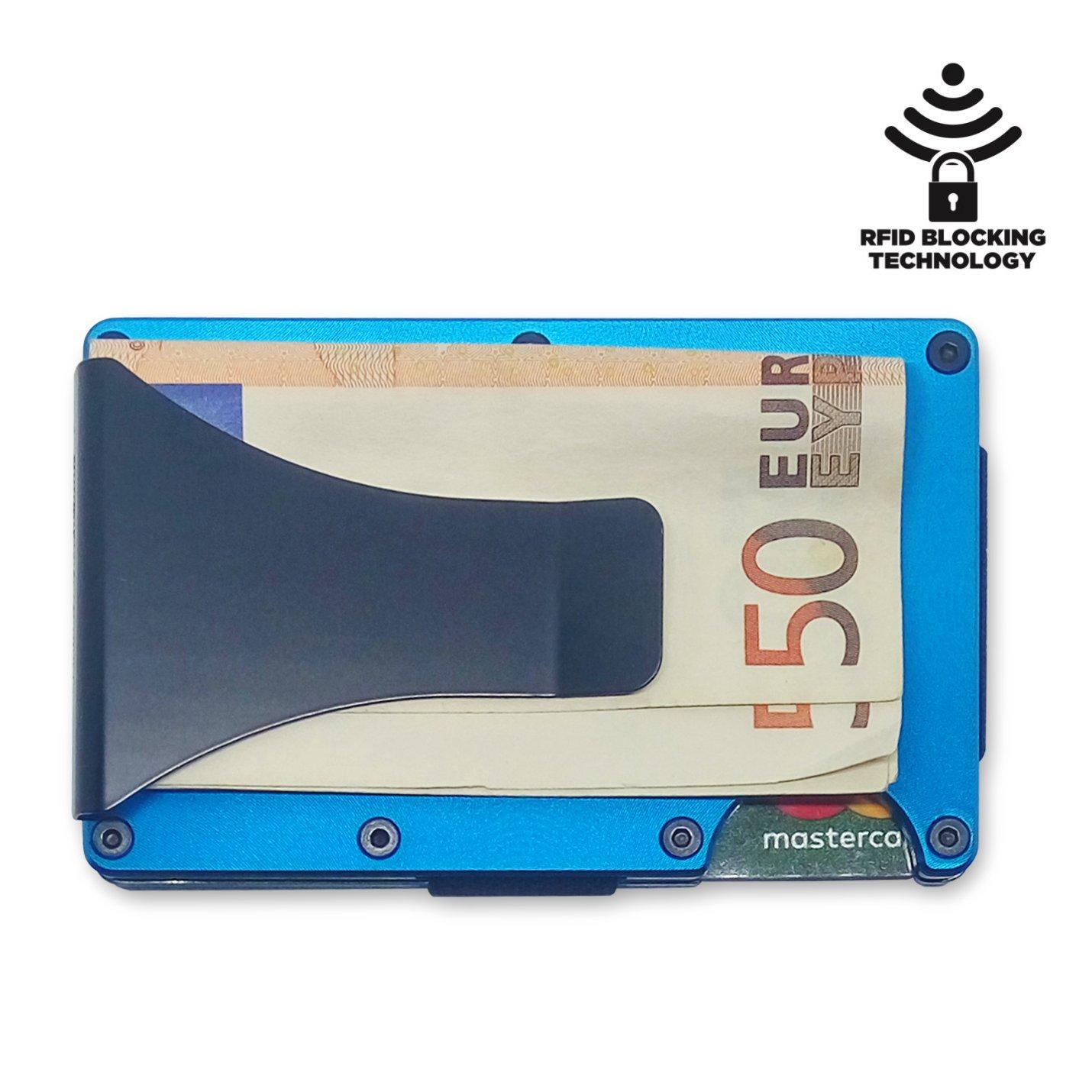 Slim Wallet - Porte-Cartes et Porte-Billets avec Protection RFID. Porte-Cartes de crédit en Aluminium avec Pince à Billets en Acier. Il Peut contenir jusqu'à 12 Cartes (Bleu électrique)