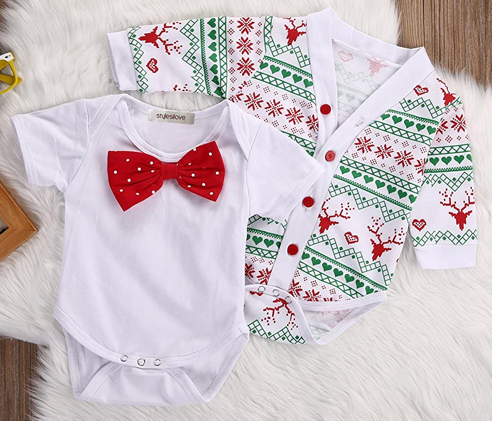 407d8b89d845 stylesilove Infant Baby Boy Jumpsuit with Red Bowtie and Holiday Character  Onesie Cardigan Christmas 2 pcs Outfit Set