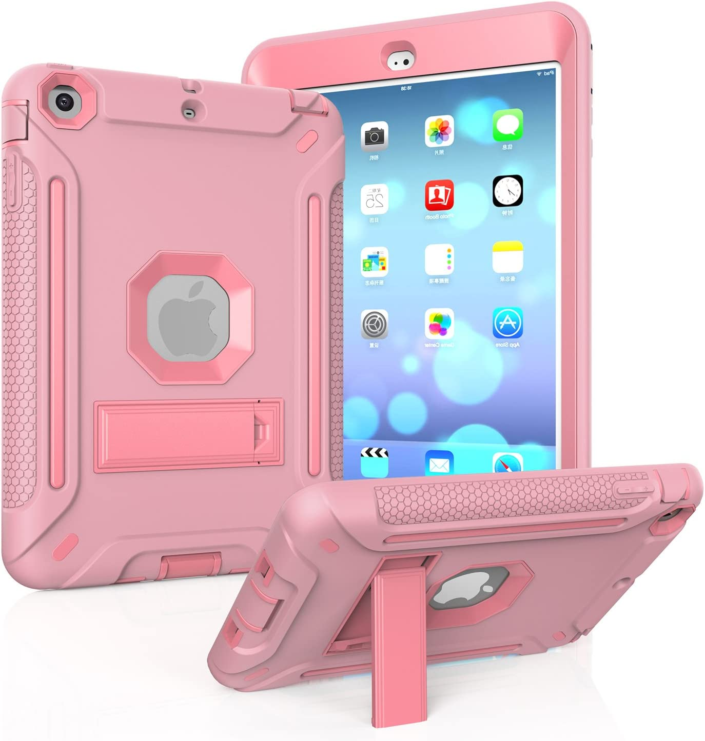 MAKEIT CASE iPad Mini Case, iPad Mini 3 Case Heavy Duty Hybrid Shockproof Protective Silicone and PC Hard Case Full-Body Rugged Protective Case with Kickstand for iPad Mini 1/2/3 (Rose Gold)