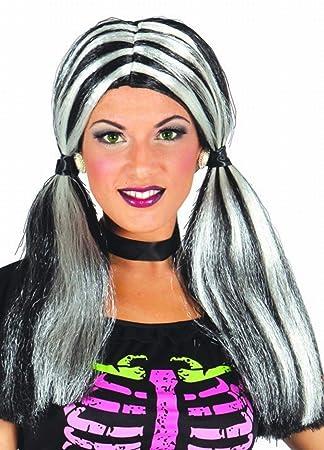 Disfrazzes - Peluca negra y blanca con coletas de bruja para halloween