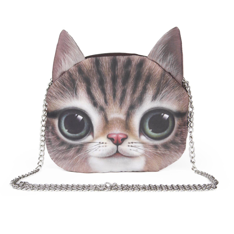 SUKUTU Women Girls Cute 3D Cat Face Crossbody Chain Purses Messenger Bags
