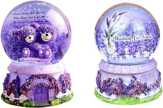 Schneekugeln Lavendel Lila B/är Kristall Spieluhr Lichter Schneeflocken Geburtstag Freundin Geschenk Winter Lavendel Lila B/är Schneekuppel Globe Wasserball Geschenk luckything Schneekugel