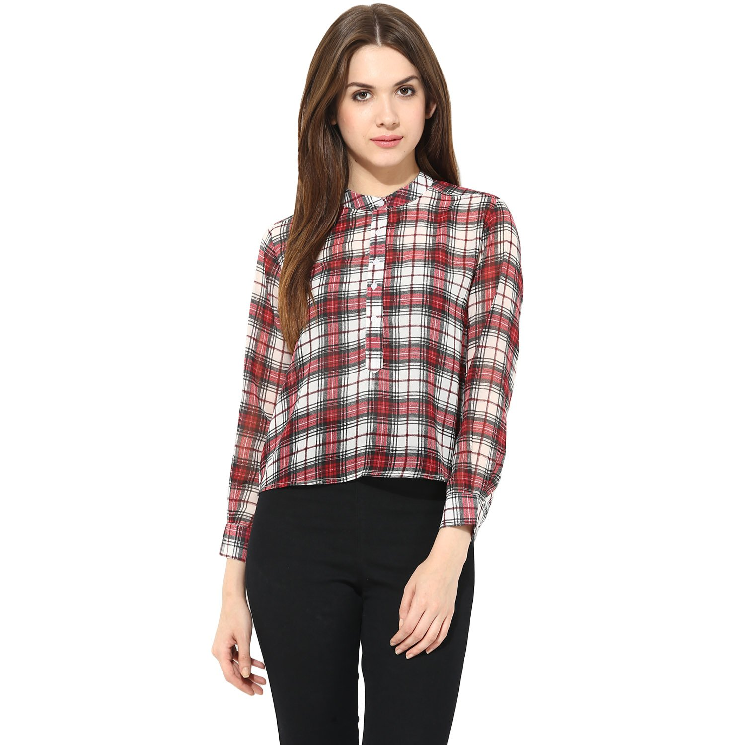 78414f12ccaf1 Suchos Casual Shirt for Women and Girls - Full Sleeves Red   White Colour -  Summer Casual Party Wear Shirt - Thigh Length - Mandarin Neck  Amazon.in   ...