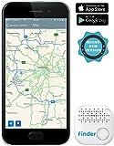 Musegear® Key Finder, localizzatore sonoro per cercare tramite app chiavi, portafogli, Iphone o smartphone Android- volume 3 volte più potente - connesso tramite Bluetooth e GPS, colore bianco