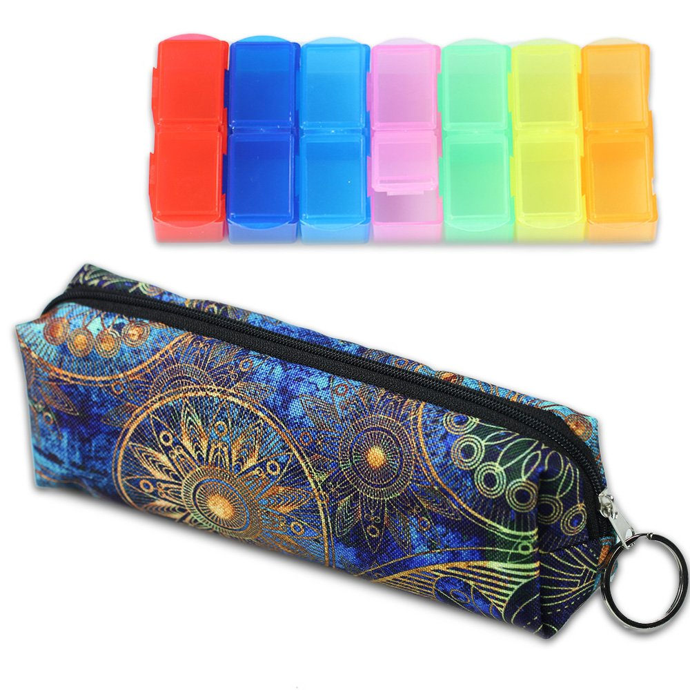 LIZIMANDU Weekly Pill Organizer, Twice-a-Day, AM/PM Push Button Pill Planner (XL) Includes Pill Box Storage bag(Blue_Flower)