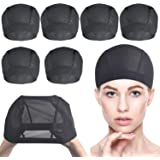 6 PACK Wig Caps for Wig Making - Stretchable Dome Mesh Wig Caps for Women Lace Front Wig(Black)