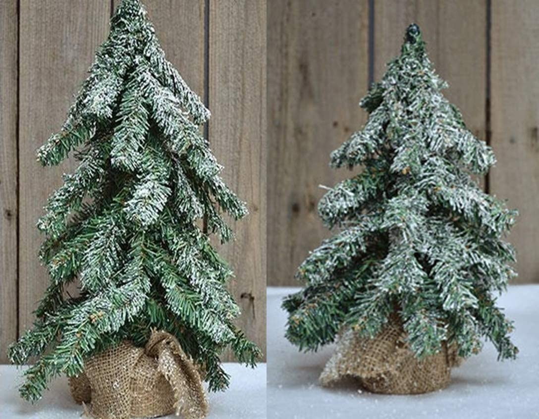 HAPPY DEALS ~ Set of 2 Rustic Country Tabletop Pine Trees | 18 inch and 12 inch Set