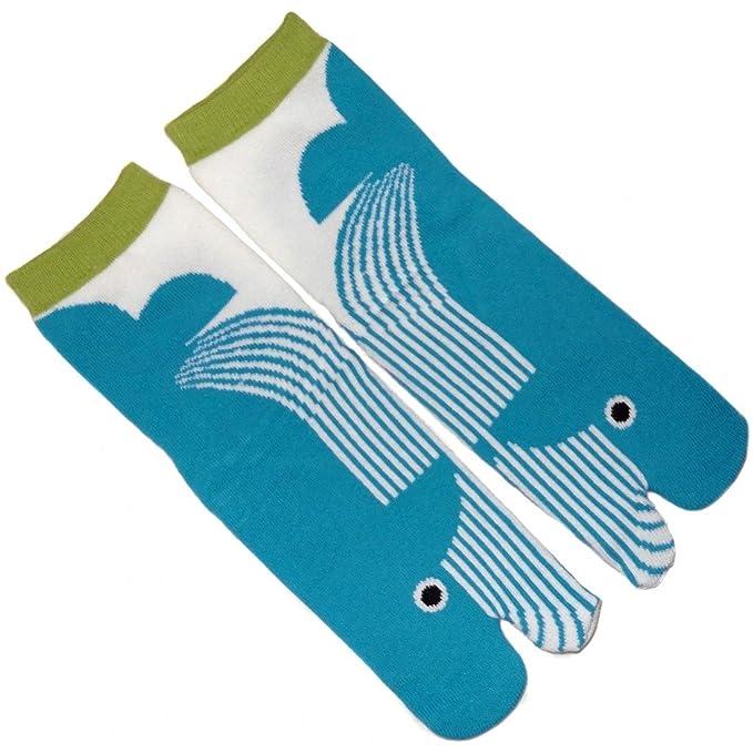 Japonmania-Tabi-Calcetines japoneses de 35 a 39-ballena azul celeste: Amazon.es: Ropa y accesorios
