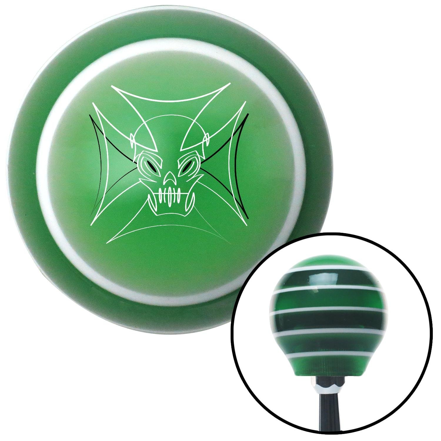 American Shifter 150817 Green Stripe Shift Knob with M16 x 1.5 Insert Black and White Pinstripe Skull 2