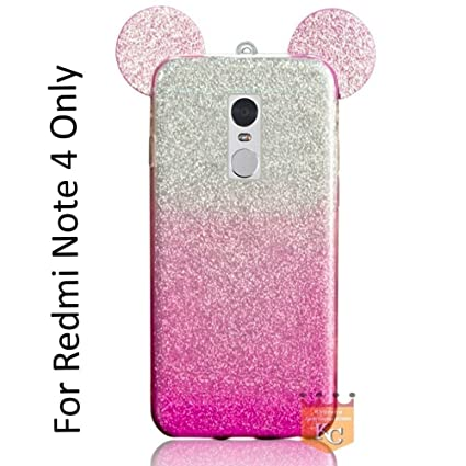 huge selection of aaca4 dbed8 KC Cute Ears Gradient Glitter 2 in 1 Transparent Soft Back Cover for Xiaomi  Redmi Note 4 - Pink Colour