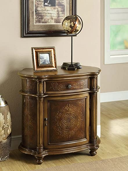 Elegant Monarch Specialties Traditional 1 Drawer Bombay Cabinet, Light Brown
