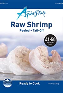 Aqua Star, Raw, Peeled, Deveined, Tail-off Shrimp, 41-50 Count , 2 lb (Frozen)