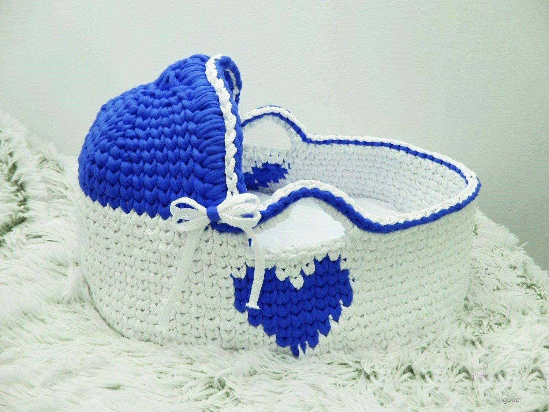 Moses Basket Crochet basket Baby Bassinet Baby boy bed Baby bassinet Couture moses basket Infant Bed Organic bassinet Baby moses by Yunisiya