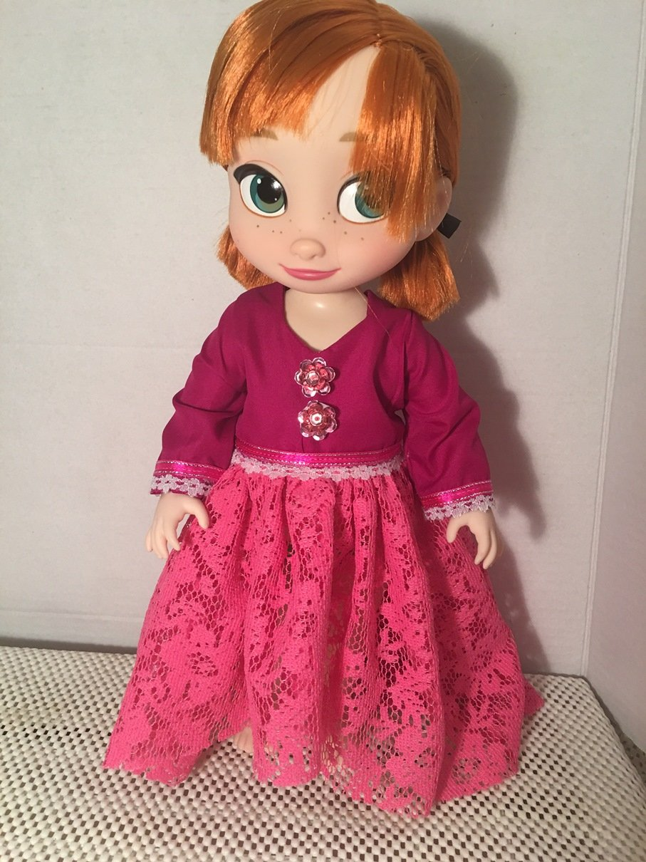 Fits 16 inch Disney Animators Doll Clothes Maxi Dress PinkHandmade (No doll)