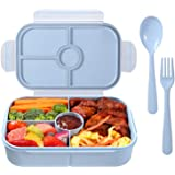 Bento Box for Kids Lunch Containers with 4 Compartments Kids Bento Lunch Box Microwave/Freezer/Dishwasher Safe (Flatware Incl
