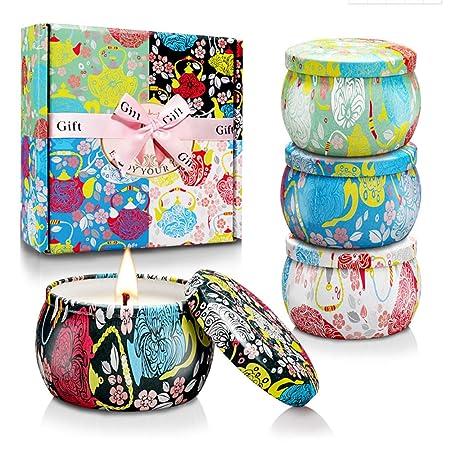 mreechan Vela perfumada,perfumada,Vela perfumada Natural Wake Box 4 Set de Regalo Decorativo para Velas, Adecuado para Navidad, cumpleaños, San ...