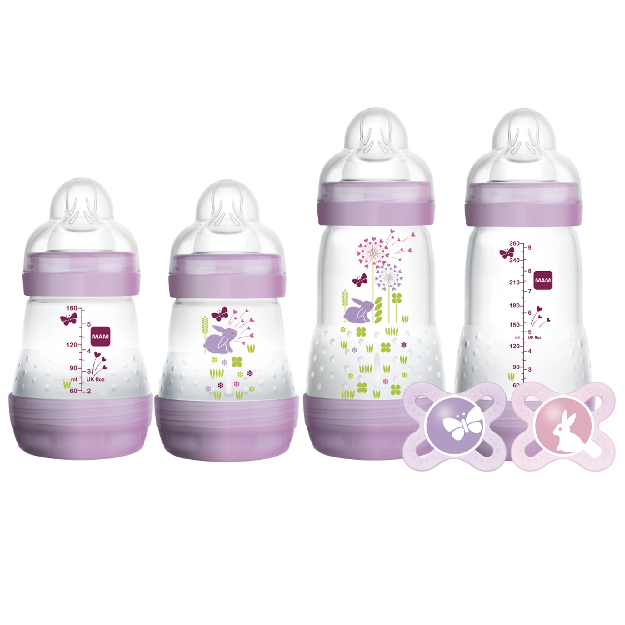 MAM Gift Set, Best Pacifiers and Baby Bottles for Newborn Breastfed Babies, ''Feed & Soothe'' Set, Girl,  6-Count by MAM