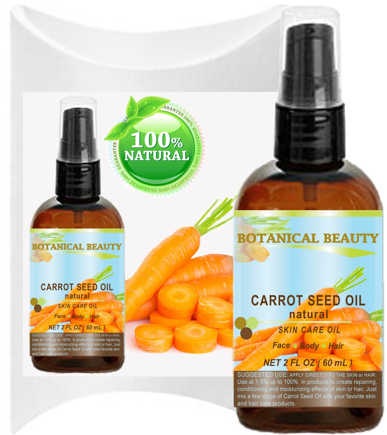"CARROT SEED OIL 100 % Natural Cold Pressed Carrier Oil. 2 Fl.oz.- 60 ml. Skin, Body, Hair and Lip Care. ""One of the best oils to rejuvenate and regenerate skin tissues."" by Botanical Beauty"