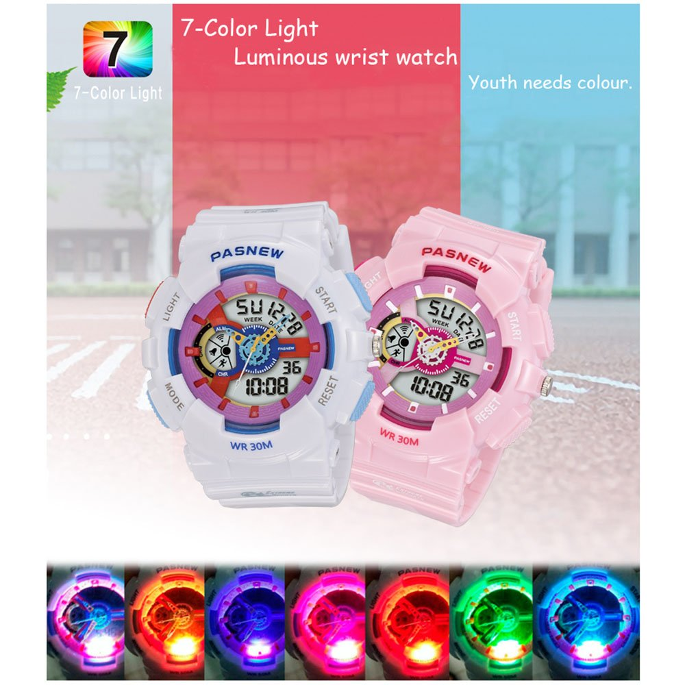 PASNEW Kids Watch Multi Function Digital-Analog Sport Watches for 7-Year Old or Above Children-Pink by PASNEW (Image #4)