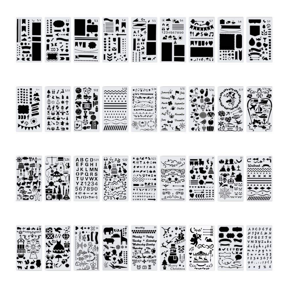 36 PCS Plastic Journal Stencil Set for Journal Notebook Diary Drawing Scrapbook Journal Stencils Templates 4x7 Inch by CH HAICHENG