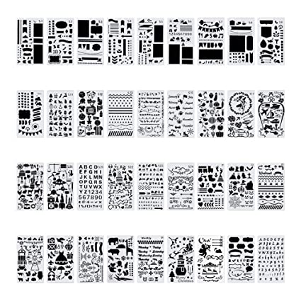 Amazon.com: 20 plantillas de plástico para diario / cuaderno ...