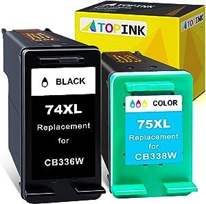 ATOPINK Remanufactured Ink Cartridge Replacement for HP 74XL 75XL 74 75 Work with HP Photosmart c4280 deskjet d4360 c5280 c4480 c4250 c5550 c4400 c4580 d4260 officejet j5780 c4599 (1 Black,1 Color)