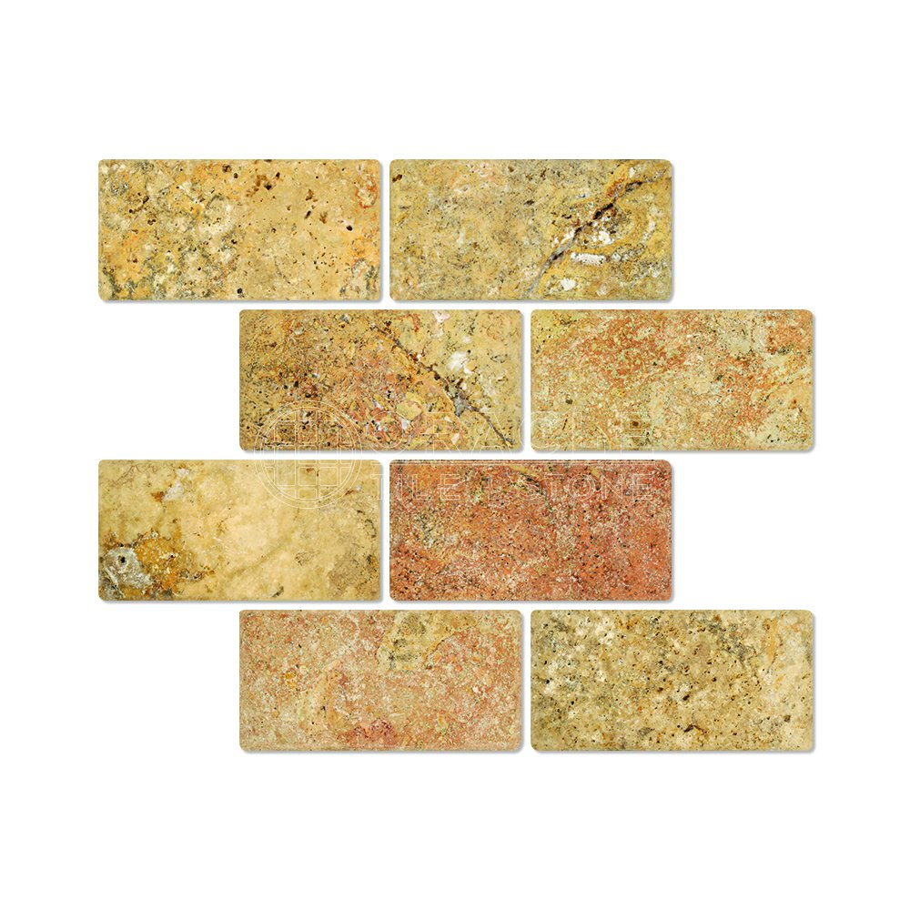Scabos travertine 3 x 6 brick tile tumbled box of 5 sq ft scabos travertine 3 x 6 brick tile tumbled box of 5 sq ft marble tiles amazon dailygadgetfo Image collections