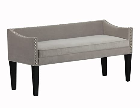 Groovy Leffler Home Whitney Transitional Long Upholstered Bench Grey Andrewgaddart Wooden Chair Designs For Living Room Andrewgaddartcom