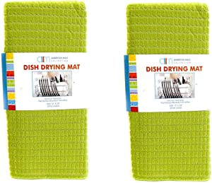 American Mills 2 Pack Embossed Ultra Absorbent Kitchen Microfiber Dish Drying Mat (Green)