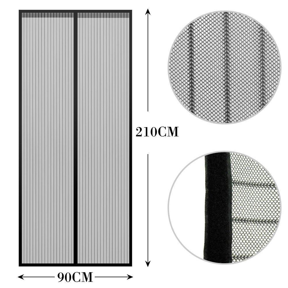 Anpro Magnetischer Moskitonetz-Vorhang ideal f/ür T/üren zum Wohnzimmer oder Schlafzimmer 90 x 210 cm Fliegenschutz