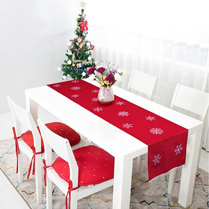 Details about  /White Christmas Snowman Santa Decorations Lace Table Runners Xmas Placement