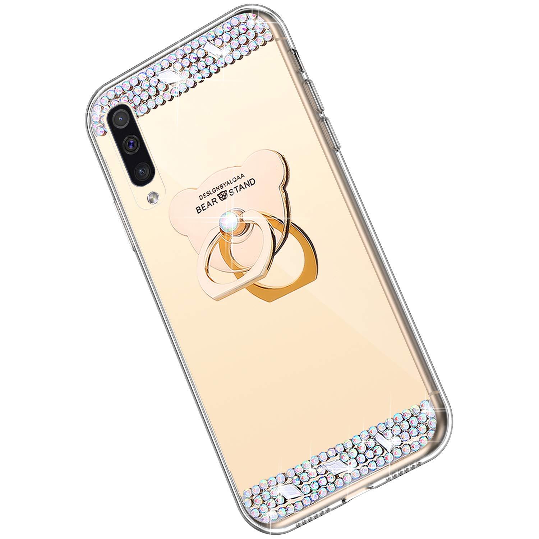 360 Rotazione Orso Tondo Anello Supporto Ukayfe Compatibile con Samsung Galaxy A70 Custodia,Specchio Silicone Cover con Brillante Strass Ultra Sottile TPU Mirror Telefono Cover-Argento