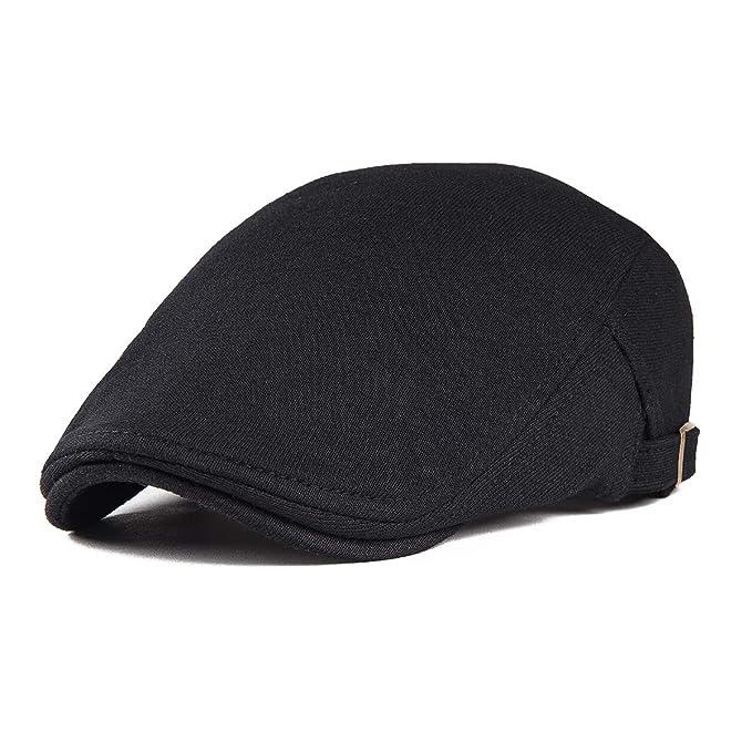 6143e3eed2d VOBOOM Men s Cotton Flat IVY Gatsby Newsboy Driving Hat Cap 039 (Black)(Size