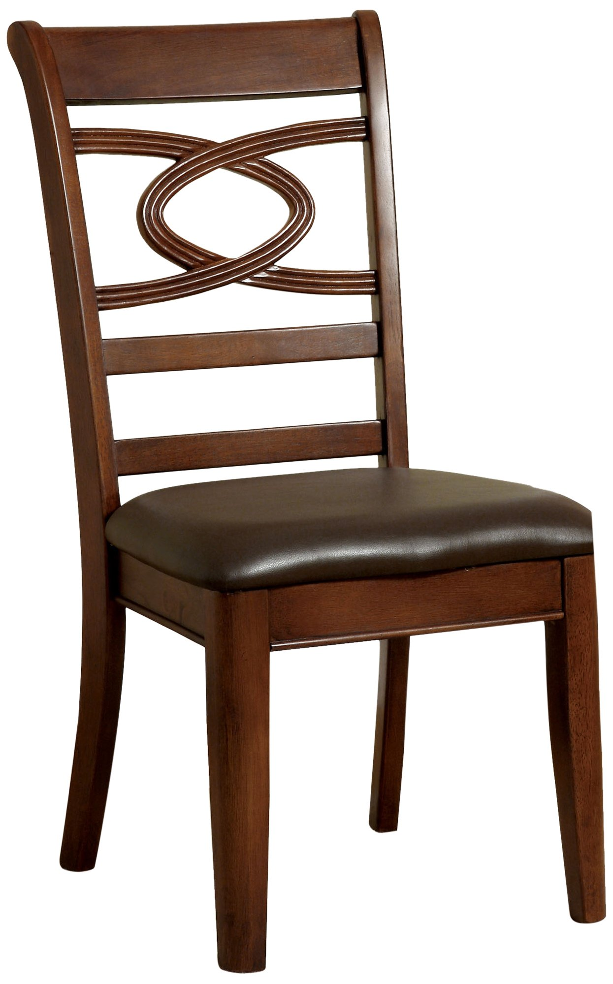 HOMES: Inside + Out Iohomes Reminson Modern Formal Side Chair, Brown Cherry Finish, Set of 2 by Furniture of America