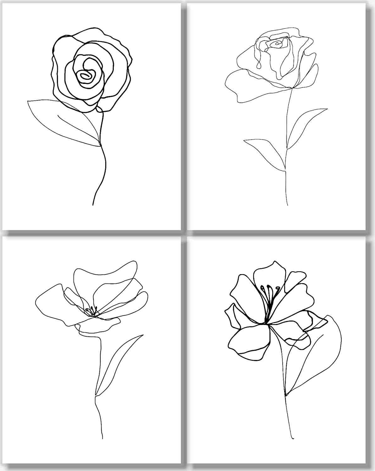 Amazon Com Black And White Wall Art Flower Line Drawings